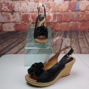 BOC Leather Wedge Sandals W/ Florets SIze 10